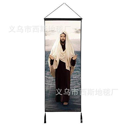 Jesucristo Colgando Tela de algodón Sala de Corte de algodón de la Virgen María Fondo Pintura Pared Colgando Pintura decoración de la Iglesia 15 120 * 45 cm