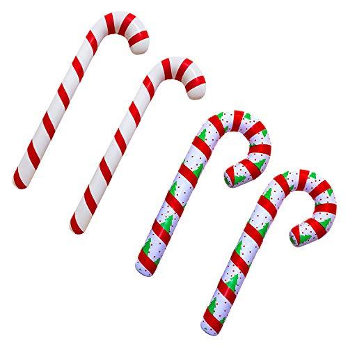 Xnuoyo Bastón De Caramelo Inflable De Navidad Decoración De Interior Y Exterior De Navidad Decoración De Globos De Fiesta Globo De Bastón Patrón De árbol De Navidad Globo De Bastón(4PCS)