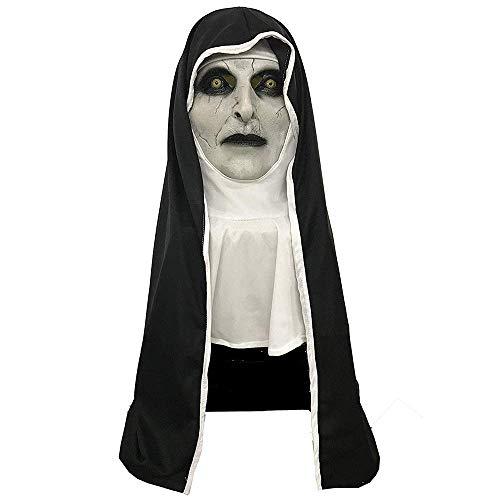 Mesky Suora Maschera Haalloween Mask Nun 2 Tipo in Lattice Accessorio Costume Cosplay Vigilia Religioso Diavolo Nuovo Edizione con Sciarpa Pieno di Vene Leggero 300gr Taglia Unica