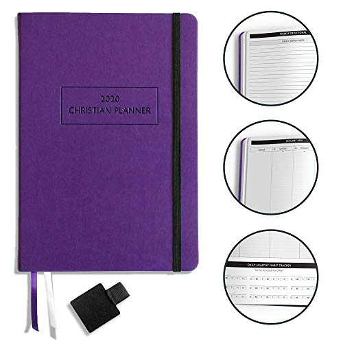 Christian Planner 2020 Planner, Bible Journal, and Gratitude Journal | 7x10 Lay Flat Hardcover Vegan Leather Journal with Thick No-Bleed Paper | Month, Week & Daily Organizer (Lady Lilac)