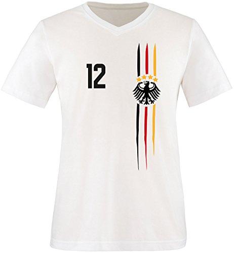 Luckja WM 2018 Deutschland T-Shirt Wunschname & Wunschnummer M 03 Herren V-Neck T-Shirt