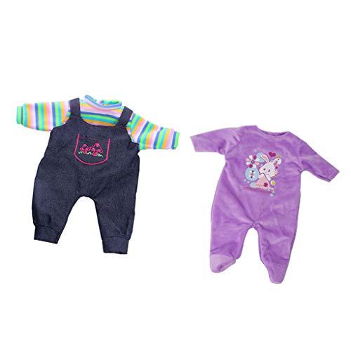 F Fityle 2 Piezas de Ropa de Muñeca, Mono Azul Oscuro de Una Pieza + Pijama de Felpa Morado, para Muñecas de 18 Pulgadas Y Muñecas de Niña de Tamaño Similar