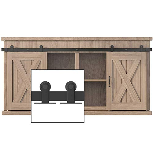 WINSOON 8FT Top Mounted Super Mini Sliding Barn Door Cabinet Hardware Kit for Double Doors TV Stands Small Wardrobe Cabinets, T Shape Hanger (NO Cabinet)
