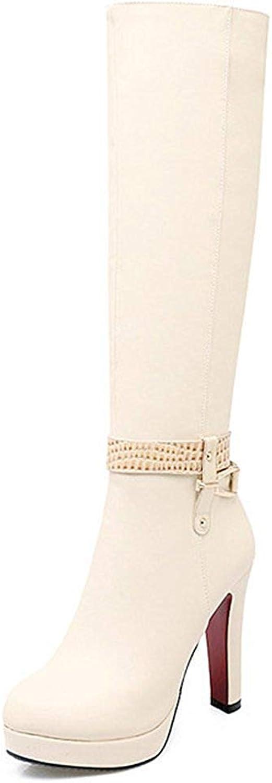 Lelehwhge Women's Elegant Strap Plain Round Toe Side Zipper Chunky High Heel Platform Knee High Biker Boots shoes Black 7.5 M US