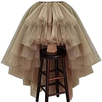 WDPL Women s Puffy Wedding High Low Layered Tulle Asymmetrical Night Out Skirt  Khaki Large