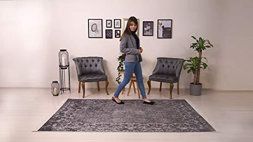BESYILDIZ KALiTE HALI Designer Teppich Bordüre Hochwertig Meliert Kurzflor Bedruckt Braun-Violett 80x150cm