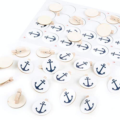 Logbuch-Verlag - Pinzas de madera con disco redondo + pegatina de ancla azul y blanco para decoración marítima, regalo para invitados, boda, bautizo 24 Stück