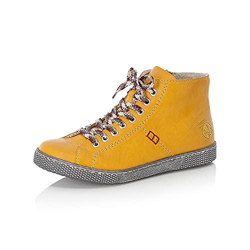 Rieker Damskie wygodne buty Z1210, półbuty sznurowane, luźna wkładka, żółty 68, 38 EU