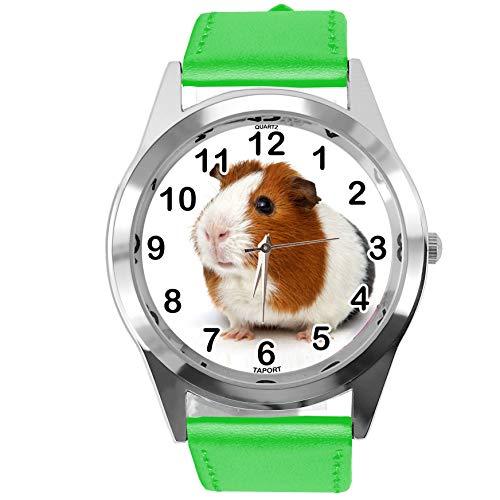 TAPORT® Reloj Redondo de Cuero Verde para los Fans de los cobayas