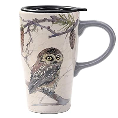 Owl In Tree Coffee Cup With Lid