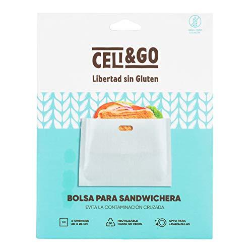 CELI&GO Bolsas para Tostar en Sandwichera o Tostadora Grande tamaño Bocadillo 20 x 25 cm - Pack de 2 Bolsas para Tostar en Sandwichera Reutilizables, Lavables, Antiadherentes
