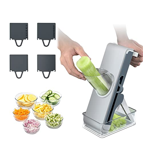 Mandolina para verduras, cortadora de verduras multifuncional 4 en 1, utilizada como cortadora de cebollas, para patatas, tomates, pepinos, cebollas, lechugas, frutas, jamón, embutidos (azul)