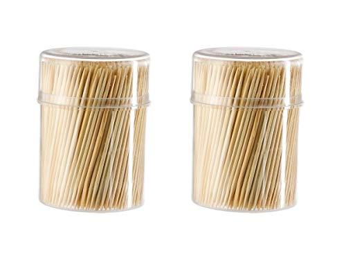 1000 palillos de madera, palillos de cóctel en una caja dispensadora, cura de dientes de madera, para la cocina, 6,5 cm