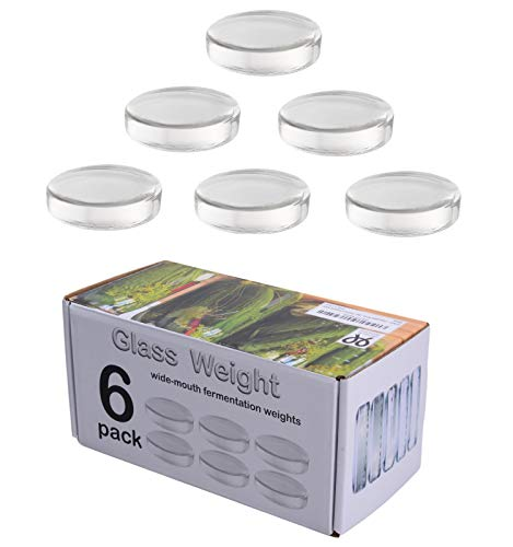 6 Pack - Large glass fermentation weights for wide mouth Mason jars. Preservation and Pickling. Dishwasher safe. Gift box included. Premium Presents brand