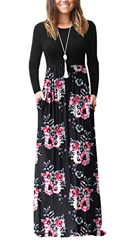 VIISHOW Women's Boutique Long Sleeve Loose Plain Maxi Dresses Casual Long Dresses with Pockets(Flower Black,XX-Large) (Apparel)