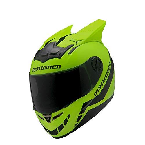 MYSdd Motorradhelm männlich weiblich Persönlichkeit Moto Helm Capacete De Moto weißIntegralhelmCasco Moto -grün1 X XXL