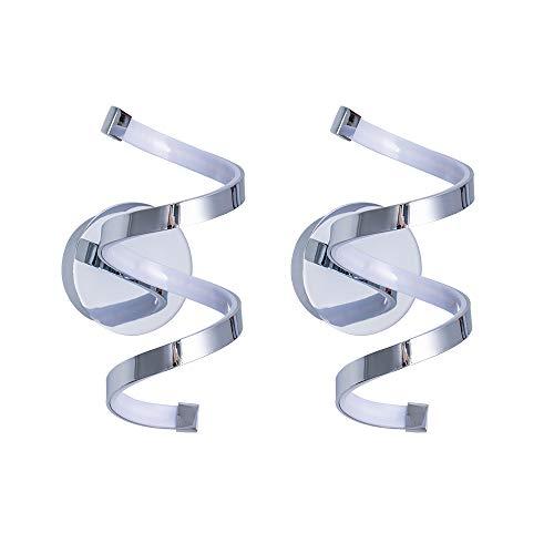BYX 2 PCS Lampada da parete in metallo a spirale nordica 12W (4000K), applique da parete a LED per interni in argento cromato per comodino, sfondo TV Soggiorno studio