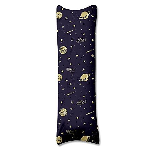 Totots Funda de almohada de elementos espaciales, fundas de almohada de cuerpo estrella, funda de almohada de seda con leche frontal de meteoritos, funda de almohada impresa digital, funda de almohada