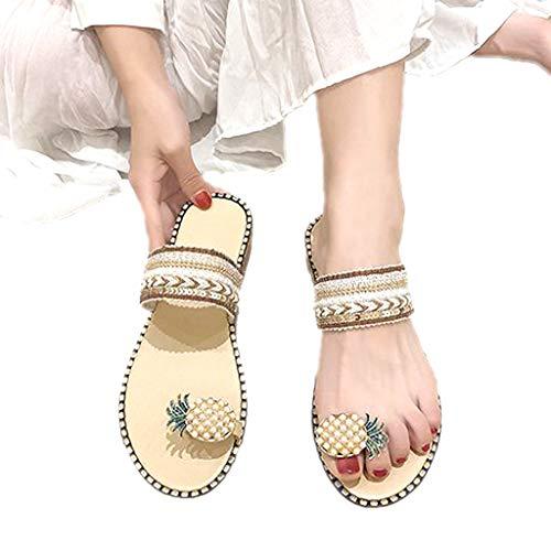 WggWy Sandalias De Talla Grande para Mujer De Color Caqui, Sandalias De Playa con Punta De Encaje para Mujer Sandalias De Color Caqui Casuales De Moda Zapatos De Playa Cómodos,36