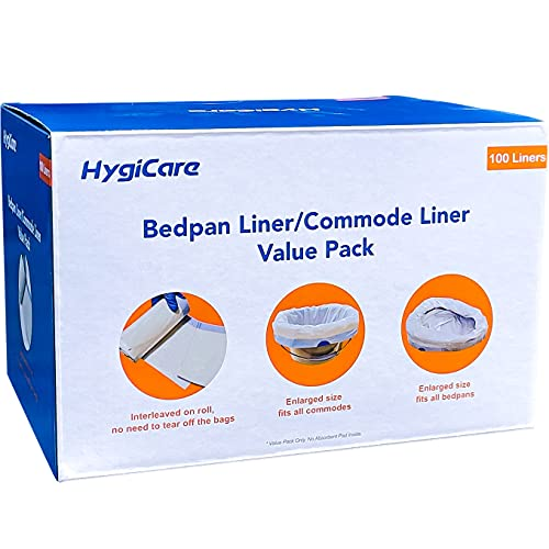 HygiCare Enlarged Size Bedpan Liners Commode Liners 100 Count Medical...