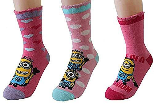 United Labels Kinder Socken Minions 3er Pack Rosatöne 27-30