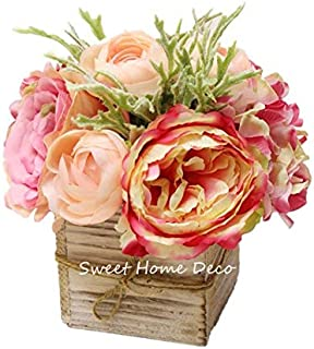Sweet Home Deco 8`` Silk Rose Peony Hydrangea Mixed Flower Arrangement w/Wood Vase Wedding Home Decorations (Pink)