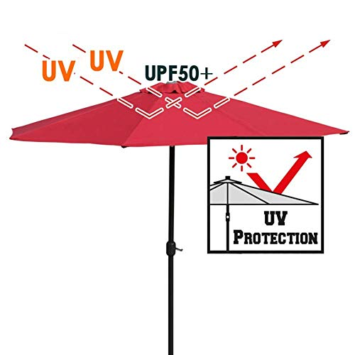 Outdoor Garden Patio Parasol Umbrella UV 50+, 9ft Umbrella with Push Button Tilt and 8 Ribs, for Outside Market Terrace Deck Yard Pool Side (Color : Wine red, Size : 9ft/2.7m)