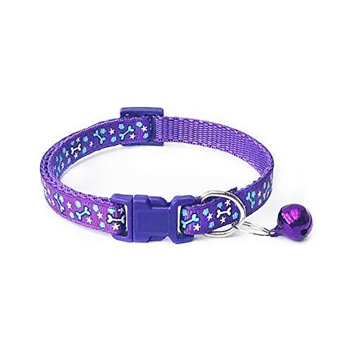 LWXFXBH Cuello de Gato de Perro de Dibujos Animados con Campana Ajustable Poliéster Hebilla Collar Productos para Mascotas Cuello Pequeño Perro Chihuahua (Color : B Purple, Size : S)