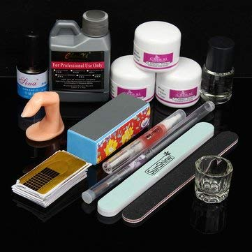 Nail Art Ensemble de vernis à ongles pour nail art - Poudre liquide polissante - Pinceau sèche-linge - Manucure 120 ml