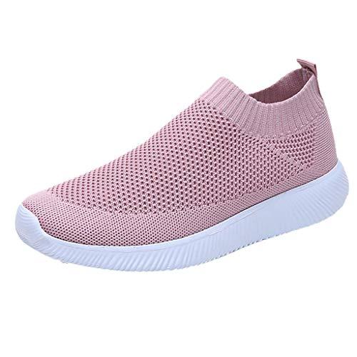 MRULIC Damen Laufschuhe Outdoor Mesh Lässige Sportschuhe Atmungsaktive Schuhe Turnschuhe Sneakers Leichte Gestrickte Schuhe Racer Fitnessschuhe (Rosa,EU-38/CN-39)