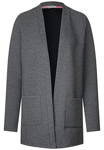 CECIL Damen 252868 Sweatjacke, Grau (middle grey melange 10158), Medium (Herstellergröße:M)