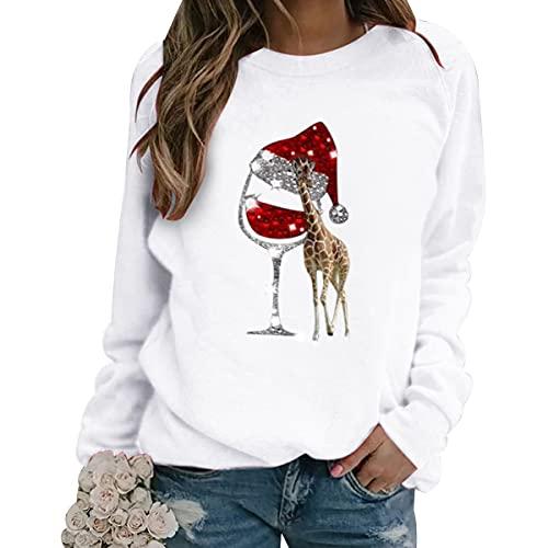 Jersey Navideño Mujer Ugly Christmas Jersey Feo Navidad Mujer Jerseys Navideños Feos Sudadera Navideña Sudaderas Navideñas Pullover Sweatshirt Divertido Talla Grande Divertidas Personalizado Blanco M