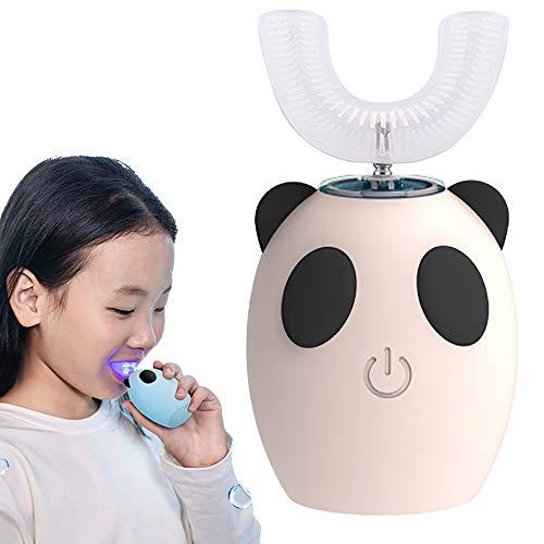 QIDIAN Cepillo de Dientes eléctrico para niños, Cepillo de Dientes a Prueba de Agua IPX7 con 3 Modos de Limpieza ultrasónicos y Cabeza de Cepillo de Forma U, Cepillo automático para niños,Beige