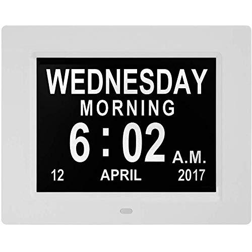 ZCHAO®le Kalender Dag Klok Zonder Afkorting Dag En Maand 8 Inch Digitale Kalender Wekker Week Tijd Alzheimer Horloges Oudere Horloges Ideaal Voor Ouder #1