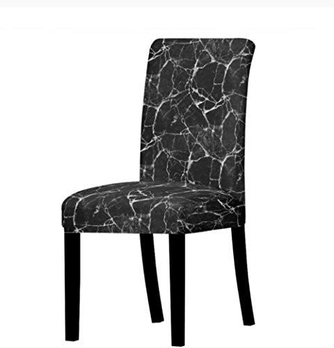 Stuhlbezug Elastische Anti-Staub Jacquard Bankettnordic Marble Pattern Stuhlbezug Home Dining Chair Elastic Stuhlbezug Black Spandex Elastic Fabric Universal Dustproof Elastic 1Pcs