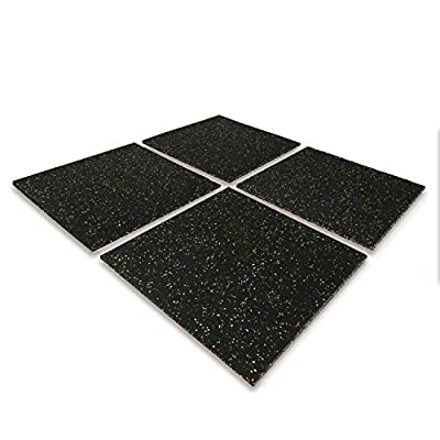 Nisorpa Eco-Sport Floor Tiles 20x20'' Heavy Duty Interlocking Floor Mat 1in Rubber Playground Tile Indoor Protective Gym Covering Anti-Slip Exercise Flooring for Home Workout Bodyweight 4 Pack