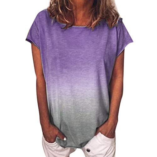 LuckyGirls • • Camisetas para Mujer, Verano Camiseta Costura Cruz de Banda Manga Corta Casual Suelto Blusas Gradiente