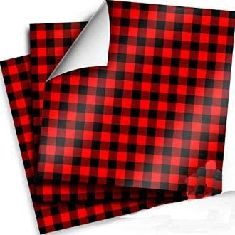 Craftopia Buffalo Plaid Vinyl Self Adhesive Sheets 3 Pack 12 x 12 Red and Black Checkered Flannel product image