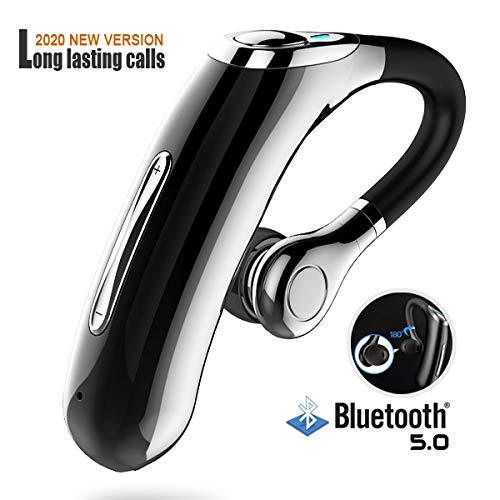 Bluetooth Headset V5.0,Long Lasting Calls, HD Voice.Powerful Noise Cancellation, Custom fit for All-Day Comfort,Hands Free Bluetooth for Cell Phone,Bluetooth earpiece Compatible with iOS and Android