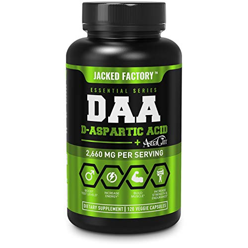 DAA D Aspartic Acid Supplement - Fortified with Astragin for Enhanced Absorption, Zero Artificial Fillers - 120 Veggie Capsule Pills