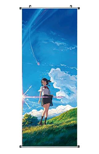 CoolChange Großes Your Name Rollbild | Kakemono aus Stoff | Poster 100x40cm | Motiv: Mitsuha Miyamizu
