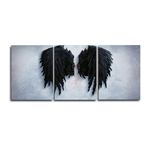N / A 3 Panels Black Angel Wings Canvas Painting Modern Decoration Wall Pictures for Living Room Home Decoration Frameless 90cmx105cm