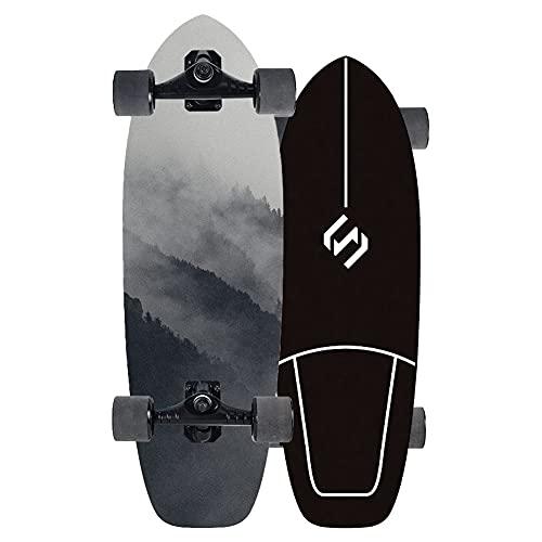 TTYY Skateboard Cruiser de Madera Completo Skateboardss para Adulto Surfskate Deck de Negra con Rodamientos ABEC-9 para City Street Land y Rampas y carriles 75 * 23.50 * 12.5 CM