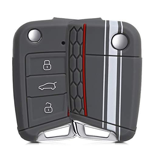 kwmobile Autoschlüssel Hülle kompatibel mit VW Golf 7 MK7 3-Tasten Autoschlüssel - Silikon Schutzhülle Schlüsselhülle Cover Rallystreifen Sidelines Weiß Grau