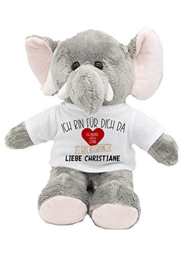 Kuscheltier Elefant Gute Besserung Herz mit Wunschname personalisiert Trostspender für Groß & Klein bei Krankheit