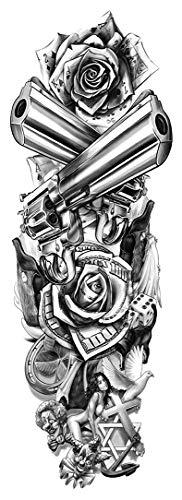 DaLin 4 Sheets Full Arm Extra Large Temporary Tattoos Sleeves, Gun, Poker, Dove, Dollars, Clown, the Beauty (TQB190)