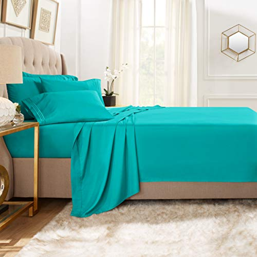 Clara Clark Premier 1800 Collection Bed Sheet Set with Extra Pillowcases Wrinkle, Fade & Stain Resistant, Flex-Top King, Teal