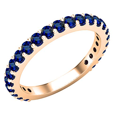 DazzlingRock Collection 14 quilates oro rosa redonda Blue zafiro sintético azul