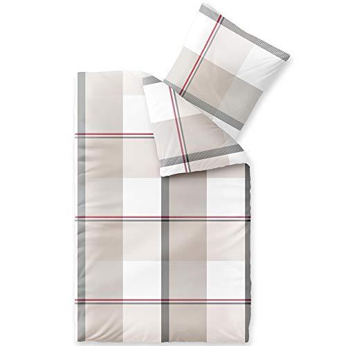 CelinaTex Touchme - Juego de ropa de cama de franela (135 x 200 cm, 2 piezas, algodón, funda nórdica Svea a cuadros), color blanco, beige y gris