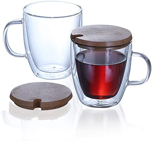 Aiboria Clear Coffee Mugs Set of 2 12 OZ Double Wall Insulated Glass Espresso Mugs with Lids product image